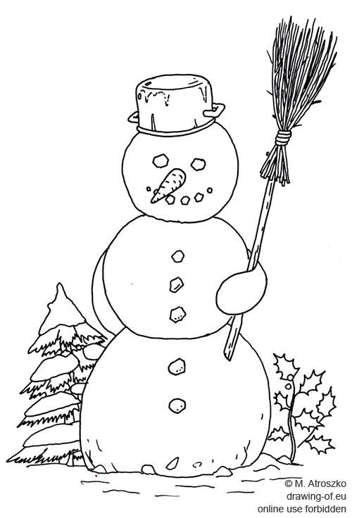 dibujo de monigote de nieve