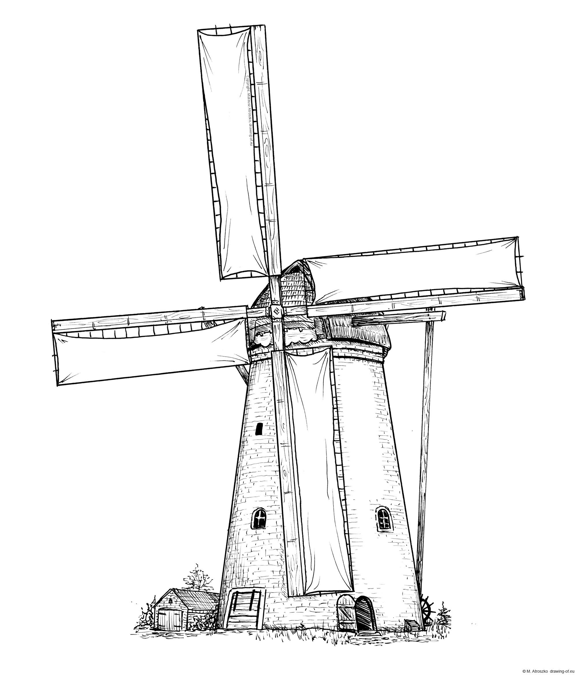 Dibujo de molina de vento